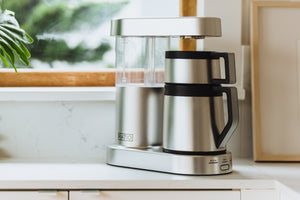 Ratio Six Coffee Maker in Stainless Steel, Clive Coffee - Lifestyle