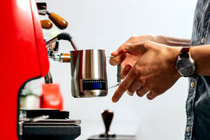Rhino Coffee Gear temperature sensing milk steaming pitcher, Clive Coffee - Lifestyle