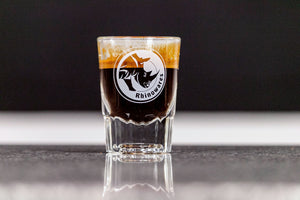 Rhino Shot glass filled with espresso, Clive Coffee - Lifestyle