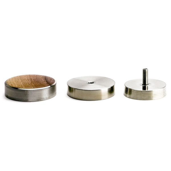 The Saint Anthony Industries New Levy depth calibrated tamper, disassembled into its three parts, Clive Coffee - Knockout