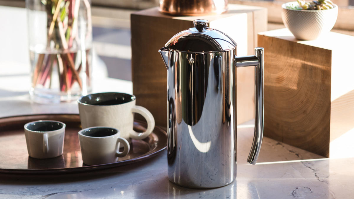 Frieling Insulated stainless steel French Press, 36 oz, Clive Coffee - Lifestyle
