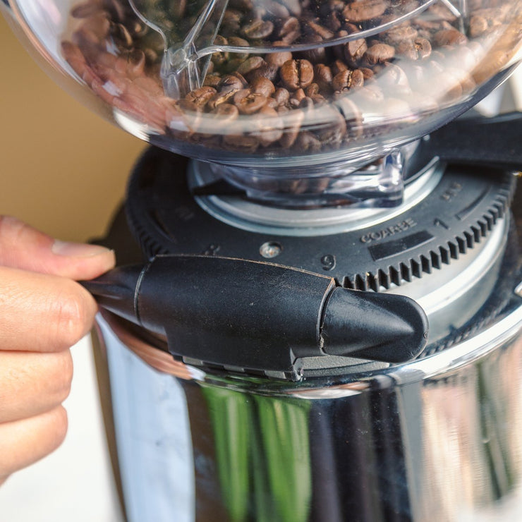Adjusting the worm gear grind adjustment collar on the Macap M7D conical burr espresso grinder, Clive Coffee - Knockout