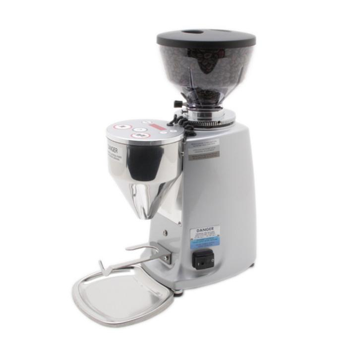 Mazzer Mini Doserless Type A Espresso Grinder in sivler with full hopper, Clive Coffee - Knockout