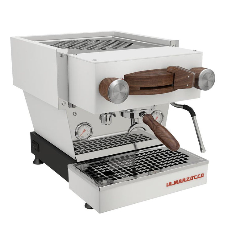 Pantechnicon walnut wood customization kit for La Marzocco Linea Mini espresso machine, Clive Coffee - Knockout