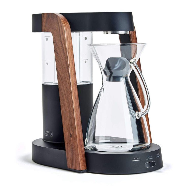 Ratio Eight Coffee Maker, matte black and walnut, Clive Coffee - Knockout