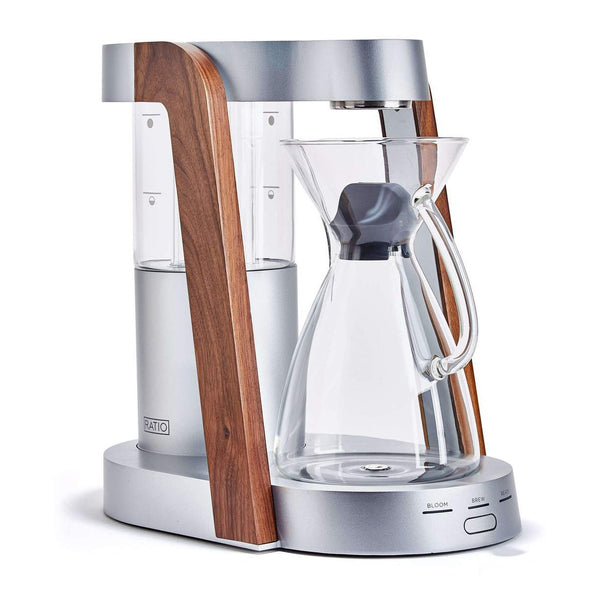 Ratio Eight Coffee Maker, silver and walnut, Clive Coffee - Knockout