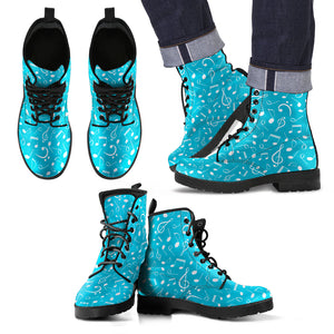 Blue Music Note Men's Leather Boots