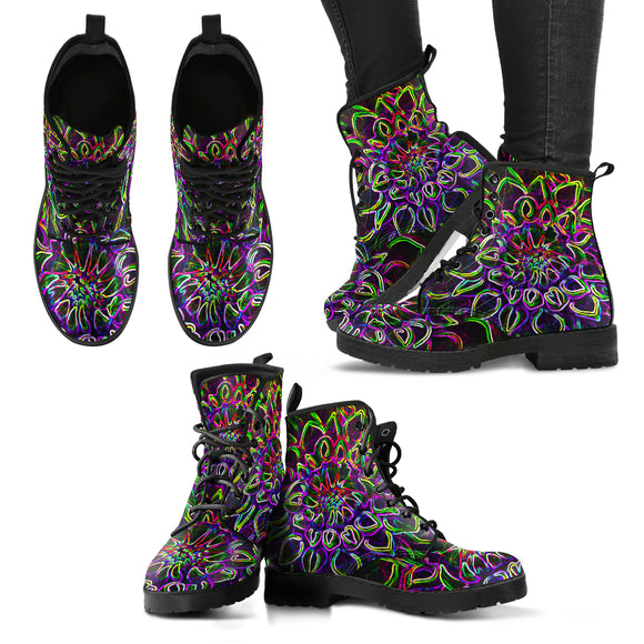 The Glowing Flower - Women's Leather Boots