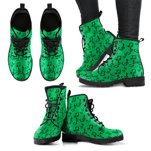 Green Music Notes Women's Leather Boots
