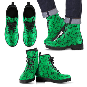 Green Music Note Men's Leather Boots