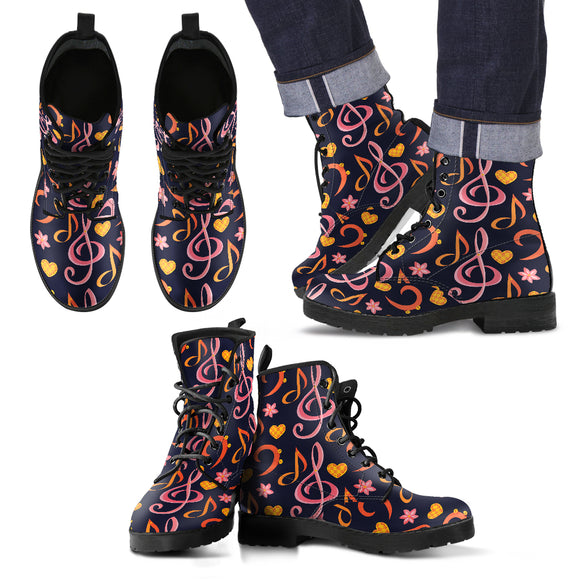 Music Note Pink & Orange Men's Leather Boots