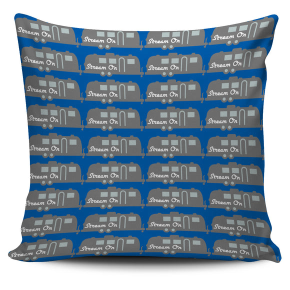Stream On Blue Pillow