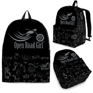 GREY Open Road Girl Scatter Design Backpack