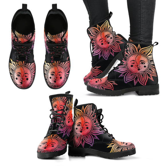 Watercolor Sun/Moon Mandala Women's Leather Boots