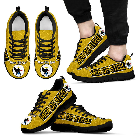 Steelers Gold Diamond Plate Super Steel Men's Shoe BLK