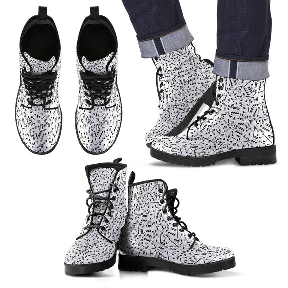 White Music Note Men's Leather Boots