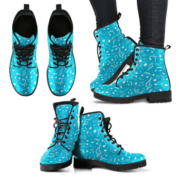 Light Blue Music Note Women's Leather Boots