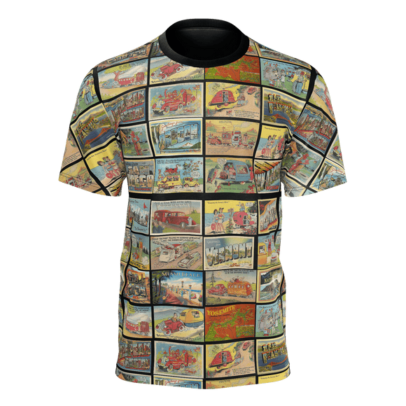 Vintage Travel & Camping Postcard Pattern T