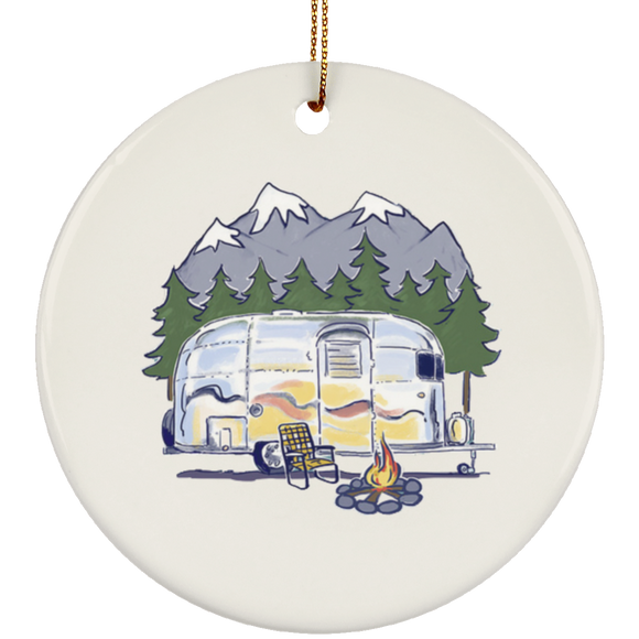 Airstream campfire art SUBORNC Ceramic Circle Ornament