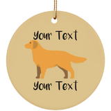 golden w text SUBORNC Ceramic Circle Ornament