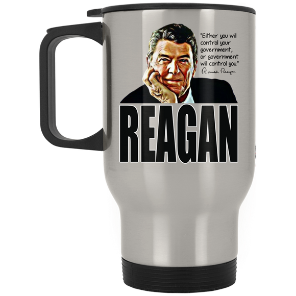 Reagan Control Gov XP8400S Silver Stainless Travel Mug