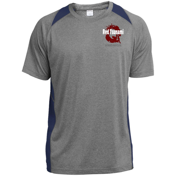 Red tsunami ST361 Sport-Tek Heather Colorblock Poly T-Shirt