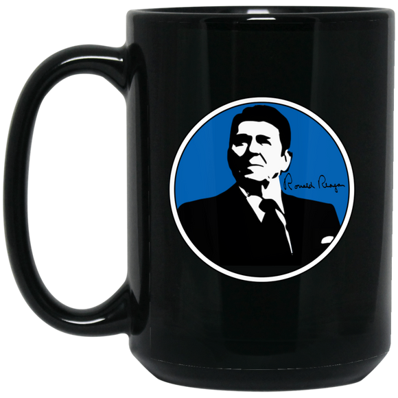 Reagan Blue BM15OZ 15 oz. Black Mug