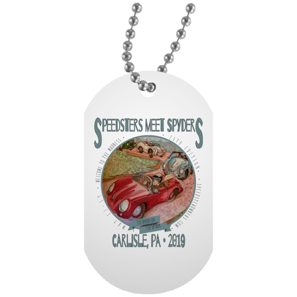 Speedsters Meet Spyders Personalize UN5588 White Dog Tag
