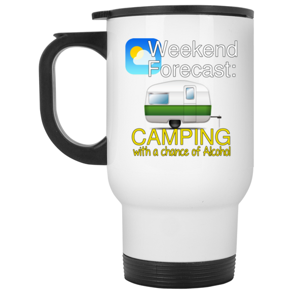 Weekend Forecast White Travel Mug