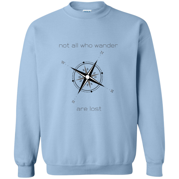 Not All Who Wander Printed Crewneck Pullover Sweatshirt  8 oz
