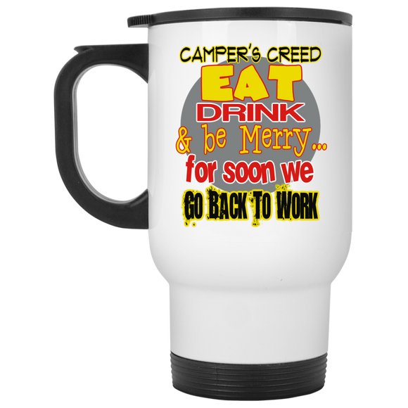 Camper's Creed White Travel Mug