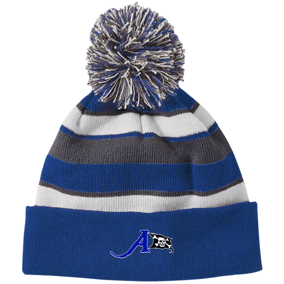 raiders a flag 223835 Holloway Striped Beanie with Pom