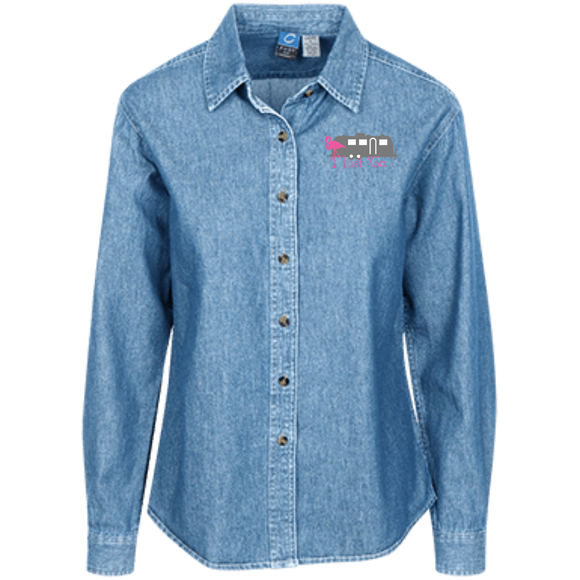 Just go flamingo LSP10 Port Authority Women's LS Denim Shirt