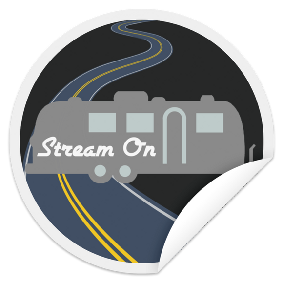 stream on road round stkr STCI Circle Sticker