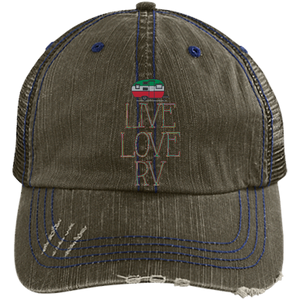 Live Love Distressed Unstructured Trucker Cap