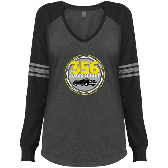 356 speedster badge DM477 District Made Ladies' Game LS V-Neck T-Shirt