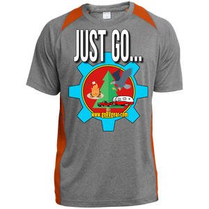 Just Go Custom Printed Heather Colorblock Poly T-shirt