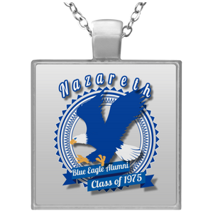 Blue eagle alumni badge UN4684 Square Necklace