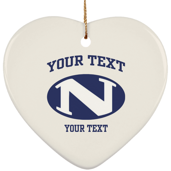 N logo personalized SUBORNH Ceramic Heart Ornament