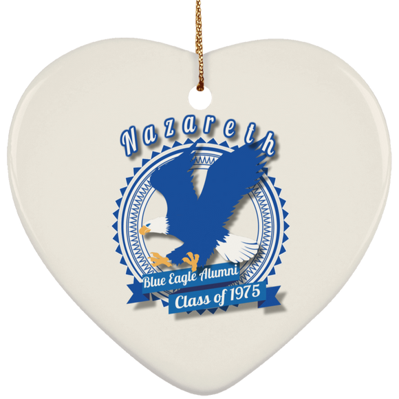 Blue eagle alumni badge SUBORNH Ceramic Heart Ornament