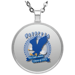 Blue eagle alumni badge UN4686 Circle Necklace