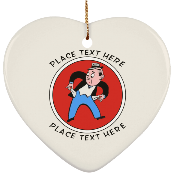 Broke3 personalized text SUBORNH Ceramic Heart Ornament