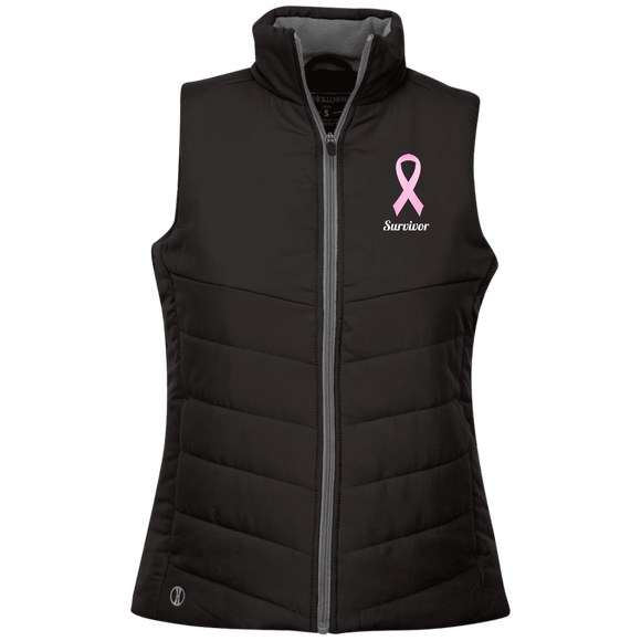 229314 Pink Ribbon Survivor Ladies' Quilted Vest