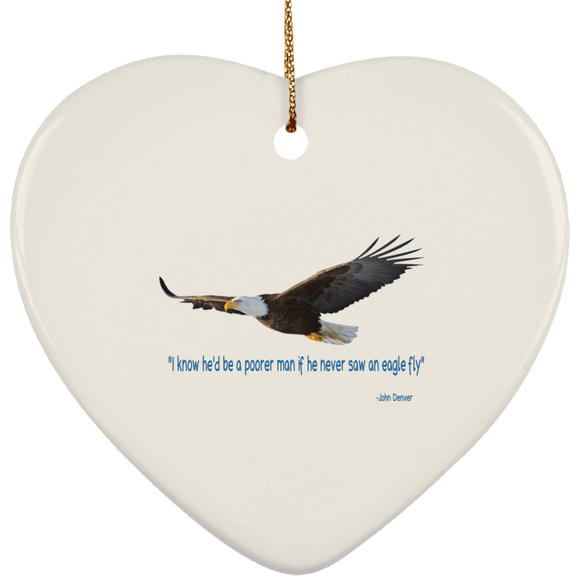 Eagle fly SUBORNH Ceramic Heart Ornament