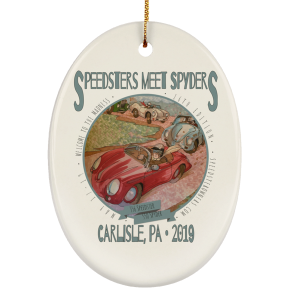 Speedsters Meet Spyders Personalize SUBORNO Ceramic Oval Ornament