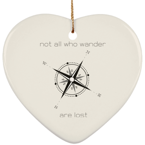 Not all who wander SUBORNH Ceramic Heart Ornament