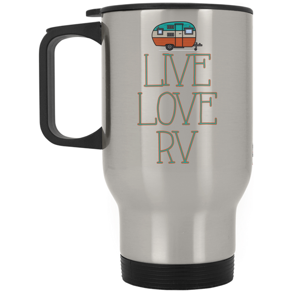 Live Love Silver Stainless Travel Mug