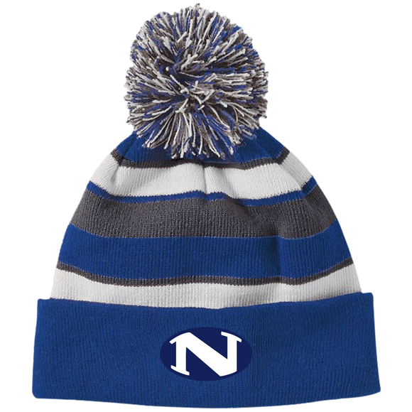 N logo 223835 Holloway Striped Beanie with Pom