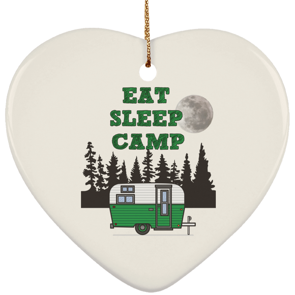 Eat sleep camp green SUBORNH Ceramic Heart Ornament