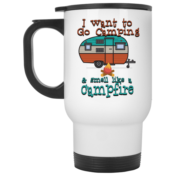 Smell Like A Campfire White Travel Mug